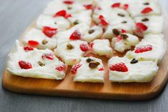 Looking for a sweet and salty treat? Here's a delicious yogurt bark recipe thats topped with strawberries and pistachios.