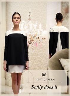 Soft look in Hippy Garden two color dress  Masarykova 5, Zagreb //  #fashion #mode #moda #softdress #blackwhite #kleidung