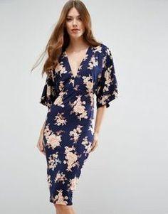 47447a6a44 ASOS ASOS Kimono Orange Sketchy Floral Midi Dress Found on my new favorite  app Dote Shopping