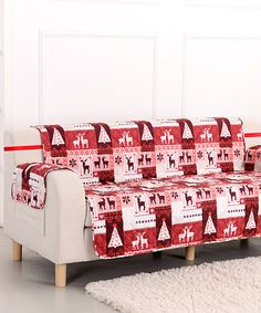 Another great find on #zulily! Red Christmas Lodge Sofa Furniture Protector #zulilyfinds