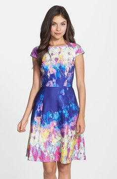 Adrianna Papell Floral Print Scuba Fit & Flare Dress available at #Nordstrom