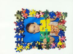 Father's Day project. Craft sticks, puzzle pieces, magnet and photo (I Love You To Pieces!)