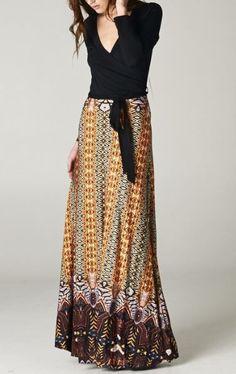 New Black & Tan Bohemian Long Maxi Wrap Waist Tie Stretch Boutique Dress S M L