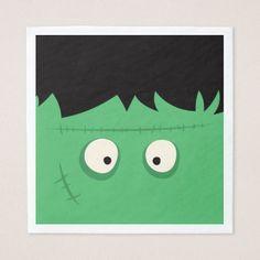 Halloween Trick or Treat Cute Frankenstein Monster Paper Napkin - home decor design art diy cyo custom