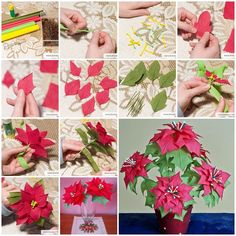 DIY Crepe Paper Poinsettia the Christmas Star | iCreativeIdeas.com Follow Us on Facebook --> https://www.facebook.com/iCreativeIdeas