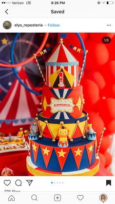 Carnival Party Decorations, Carnival Themed Party, Party Themes, Circus Birthday, Birthday Parties, Birthday Cake, Cake Designs, First Birthdays, Sweets