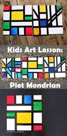 Kids Homeschool Art Lesson: Piet Mondrian - Happiness is Homemade
