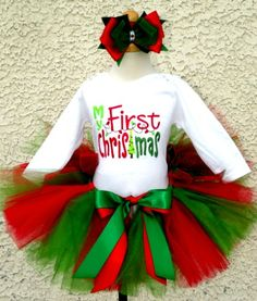 My First Christmas Tutu Outfit For Girls http://www.tutusweetshop.com/item_1068/My-First-Christmas-Tutu-Outfit-For-Girls.htm