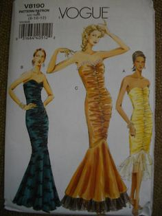 Butterick 6208 Misses 1980s Mermaid Dress Pattern ...