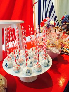 Cake pops Baby Shower Favors, Baby Boy Shower, Baby Shower Marinero, Bon Voyage Party, Ideas Para Fiestas, Nautical Baby, Party Snacks, Cake Pops, New Baby Products