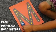 Use these free printable Road Letters to help your child learn the alphabet. Your child can trace letters by driving a toy car on these road letters!