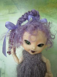 Mohair Wig for Realpuki  Lilac Tippy Top Braid by WeeDollyWears