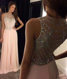 Pink chiffon Sequin Long Pink Prom Dress, Evening Dress