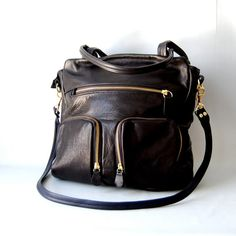 Shikotsu laptop leather tote bag in black by valhallabrooklyn, $225.00