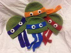 New born ninja turtle hat, nessage me tie color please Love Crochet, Crochet For Kids, Crochet Baby, Knit Crochet, Ninja Turtle Hat, Turtle Hats, Granny Square Sweater, Crochet Character Hats, Bonnet Crochet