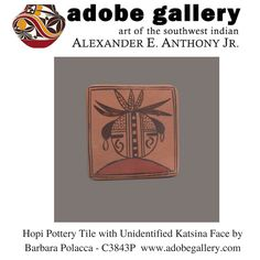 Hopi Pottery Tile with Unidentified Katsina Face by Barbara Polacca - C3843P #adobegallery #SouthwestIndianPottery #SouthwestIndianArt #HopiPueblo #Pottery