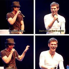 The Vampire Diaries Ian Somerhalder(Damon) & Joseph Morgan(Klaus), awww. I think I already pinned this before but oh well. Vampire Diaries Damon, Vampire Diaries Quotes, Vampire Diaries The Originals, Paul Wesley, Hello Brother, Vampier Diaries, Cw Series, Original Vampire, Photocollage