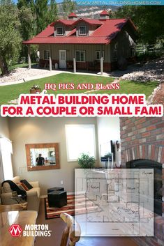24 x 30 Metal Building Home for a Couple or Small Fam! Metal Building Homes, Metal Homes, Building A House, Free House Plans, House Worth, Morton Building, Steel Frame House, Interior Columns, Exclusive Homes