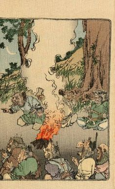 This is a full color scan of a Japanese fairy tale originally published in 1886.