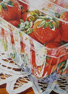 ✿ Strawberry Art Print, Art Prints of Strawberries, Strawberry Watercolor Prints - Liz Rogers ✿ Watercolor Fruit, Watercolor Paintings, Watercolor Lesson, Watercolours, Strawberry Art, Strawberry Kitchen, Strawberry Fields, Food Painting, Food Drawing
