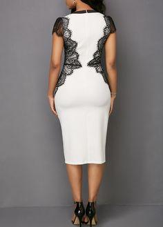 Keyhole Neckline Lace Panel Short Sleeve Dress - Trend Way Dress Simple Dresses, Elegant Dresses, Casual Dresses, Fashion Dresses, Short Sleeve Dresses, Beautiful Dresses, Ankara Long Gown Styles, Plus Size Gowns, Panel Dress