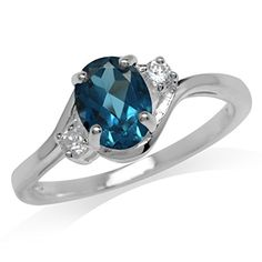 1.43ct. Genuine London Blue & White Topaz 925 Sterling Silver Engagement Ring Size 7.