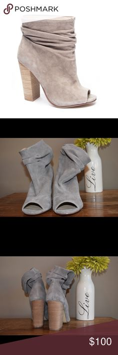 Chinese Laundry Laurel Peep Toe Bootie *Brand new, never worn *Scrunched suede shaft  *4.5 inch stacked heel *By Kristin Cavallari for Chinese Laundry *Beautiful creamy grey color *Size 7.5 *Style tip: pair with a skinny jean for a chic casual look; or wear with a dress/skirt Chinese Laundry Shoes Ankle Boots & Booties