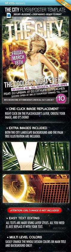 The City  Flyer and Poster Design — Photoshop PSD #poster #print ready • Available here → graphicriver.net/...