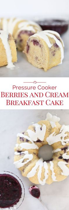 Make mornings special with this 100% whole grain, protein rich Pressure Cooker Berries and Cream Breakfast Cake. It's pretty enough to be called a cake, but healthy enough to call it breakfast!