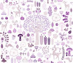 Purple Woodland Wonderland  fabric by detail_oriented_studio on Spoonflower - custom fabric