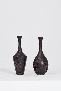 Broken Vases Cast Bronze Left: 17 x 17 x 40.5 cm & Right: 15 x 15 x 41 cm Edition of 10 Hat Stands, International Artist, Bronze Age, Stoneware Clay, Modern Materials, Gold Leaf, Vases, Candle Holders, Sculptures
