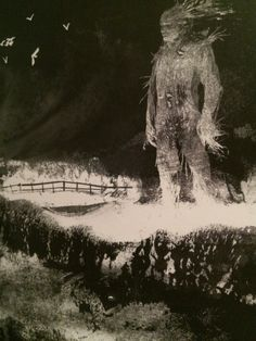 """""""A Monster Calls"""" by Patrick Ness. Illustrated by Jim Kay A Monster Calls Quotes, Best Freinds, Creepy Monster, Chiaroscuro, Dark Art, Light In The Dark, Storytelling, Illustrators, Fantasy Art"""