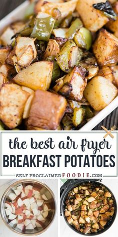 Air Fryer Breakfast Potatoes with peppers and onions turn out crispy on the outside, soft and tender on the inside, and oh-so-delicious! This has become my favorite way to make breakfast potatoes. #airfryer #breakfast #potatoes #peppers #onions #easy #recipe #best
