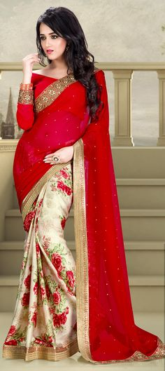 181663: Red and Maroon color family Party Wear Sarees,Printed Sarees with matching unstitched blouse.