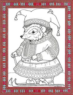 """Sami Hedgie"" coloring page courtesy of Jan Brett - a children's book illustrator! Her page has a whole collection of coloring pages. Colouring Pics, Animal Coloring Pages, Coloring Sheets, Adult Coloring, Coloring Books, Book Crafts, Hobbies And Crafts, Christmas Colors, Christmas Art"
