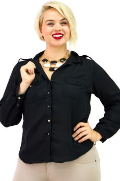 Plus Size Roll Sleeve Flap Shoulder Silky Shirt $14.99   Danice Stores