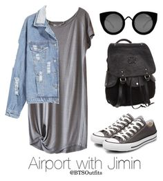 """""""Airport with Jimin"""" by btsoutfits ❤ liked on Polyvore featuring Humanoid, Converse, Will Leather Goods and Quay"""