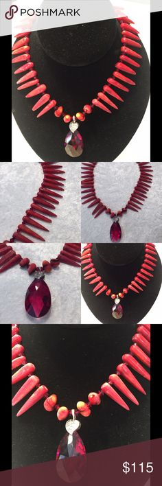 Coral spike and Swarovski Crystal necklace This gorgeous coral and Swarovski Crystal center stone in ruby necklace was hand made by a local designer. Original $298.00 Jewelry Necklaces