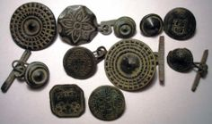 Lot of 11Old Spanish Colonial Buttons 18 th Century - Civilian & Patriotic Types