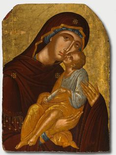 """ART OF THE DAY: """"Icon of the Mother of God and Infant Christ (Virgin Eleousa), c. 1425-1450. This type of icon, known as the Virgin Eleousa, or Virgin of Tenderness, is characterized by the touching cheeks of mother and child in a loving moment. Attributed to Angelos Akotantos. Tempera and gold on wood panel, Unframed. Leonard C. Hanna, Jr. Fund.    On view in Gallery 105 at the Cleveland Museum of Art."""