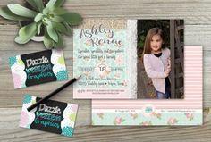 Items similar to Shabby Chic Burlap Lace Birthday Invitation Fourth Birthday, Birthday Parties, Shabby Chic Birthday Party Ideas, Mint Background, Birthday Invitations, Invites, Burlap Lace, Print Packaging, Floral Flowers