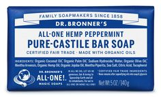 Dr. Bronner's Peppermint Pure-Castile Bar Soap: Our most popular scent & with a peppermint burst so pure it tingles!