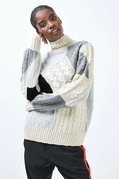 Refresh your knitwear collection in this mid-weight cosy jumper with a quirky patchwork design and funnel neck. An easy to wear style, were wearing them with cool joggers and ankle boots for an eclectic feel. Jumper, Men Sweater, Sweater Layering, Patchwork Designs, Funnel Neck, Cool Sweaters, Outerwear Jackets, Knitwear, Topshop