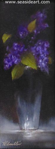 Lilacs in Silver is an original oil painting by Karen Chamblin. The art measures 10″  x  4″ and the frame is 13 1/2″  x 7  1/2″