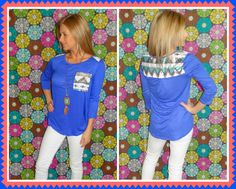 Blue Aztec sequin blouse · The Sister's Boutique · Online Store Powered by Storenvy