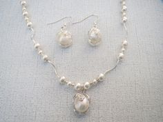 White Pearl Pendant Sterling Swarovski Necklace by jazzybeads
