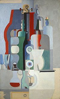 Le Corbusier, 1922, Nature morte verticale (Vertical Still Life), oil on canvas, 146.3 cm × 89.3 cm (57.6 by 35.2 inches), Kunstmuseum Basel