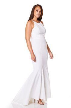 e27b7d885108 Robe de mariée JARLO - Addilyn Fishtail Maxi Dress with Lace Button Back  Detail #weddingdress