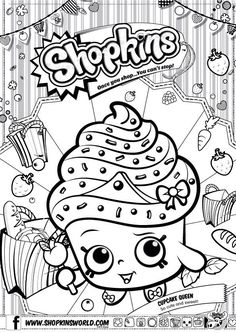 Shopkins Colour Color Page Cupcake Queen ShopkinsWorld: