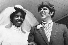 "The First Interracial Marriage (in 1970 for the state of Mississippi since 1890) ""Newlyweds Berta and Roger Mills, shown here on their wedding day 8/2/70, are currently living in a modest Jackson, MS apartment. They were married after a legal fight against the state law prohibiting interracial marriage""."